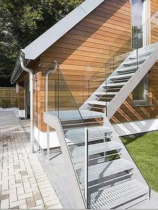 The South Lodge External Project - An ultra modern external staircase in keeping with the style of the building and property. Staircase Outdoor, External Staircase, Staircase Handrail, Staircase Design, Entry Stairs, Exterior Stairs, House Stairs, Outside Stairs, Glass Stairs