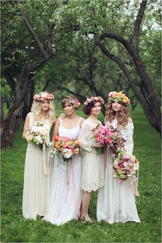 mismatched bohemian bridesmaid dresses for fall wedding 2015-2016