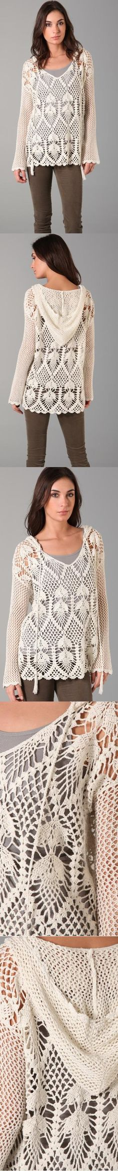 Free People. Pacifica Crochet Hooded Sweater.