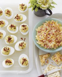 Bacon Deviled Eggs! Recipe here: http://www.hgtvgardens.com/recipes/bacon-deviled-eggs?soc=pinterest