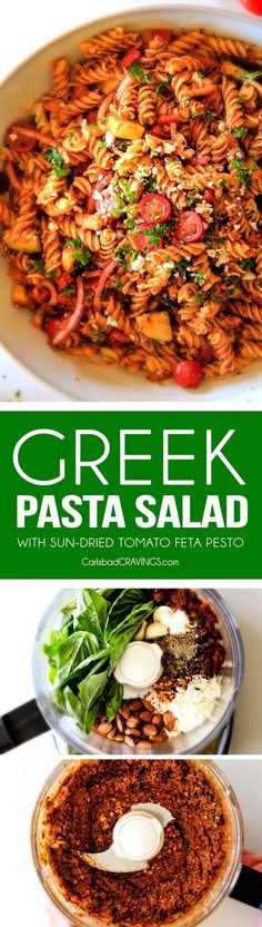 Easy, make ahead, Greek Pasta Salad with Sun-Dried Tomato Feta Pesto will be the BEST Greek pasta salad you ever make! The perfect crowd pleasing side for all your holidays, potlucks and parties!