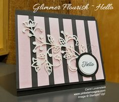 Pop of Pink Glimmer Flourish | I've covered all my favorite things with the design. 1) It has pink 2) is sparkle 3) Polka dots.  Well, it has one dot.  But, hey, that's a polka dot in my book.  Lol!  | designed by Carol Lovenstein  www.pinkstampagne.com | Stampin' Up! Card Idea