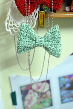 Double Crochets: mint bow necklace
