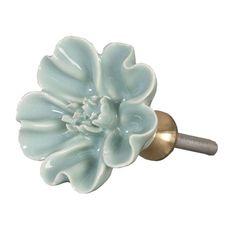 Origineel porseleinen kastknopje in mintgroen, leuk als eyecatcher op een kastje of een commode