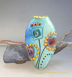 November Flowers - Handmade Lampwork Glass Focal Bead