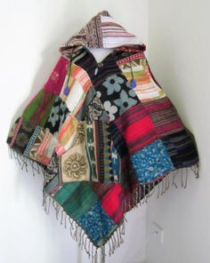 PATCHWORK  Woolen Handmade Funky Poncho by isoleynz on Etsy