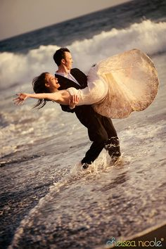 "Fun beach photo... for after the ceremony of course! Let us help you plan your dream destination wedding where you can ""trash the dress"" after! We are here to help YOU! http://2744.mtravel.com/romantic-travel"