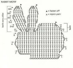 Loads of Stitches, Patterns but Translation Needed for Some: Crochet Rabbit Chart Filet Crochet, Crochet Amigurumi, Crochet Diagram, Crochet Chart, Crochet Toys, Knit Crochet, Appliques Au Crochet, Crochet Motifs, Crochet Stitches Patterns