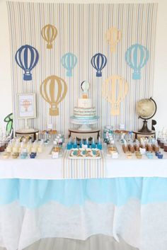 Hot Air Balloon themed birthday party with So Many Cute Ideas via Kara's Party Ideas! Full of decorating tips, cakes, cupcakes, favors, games, and MORE! #hotairballoon #hotairballoonparty #upupandaway #boyparty #partydecor #partyideas #partystyling #eventstyling (31)