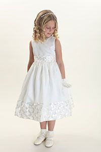 Flower Girl Dresses -  Flower Girl Dress Style 5426- Organza Dress with Satin Lattice Detailing