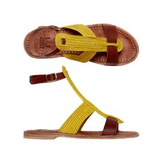 """rafia and leather sandals handcrafted """"GINGER cedrat"""""""