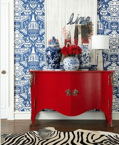 "Summer Whites {with a little red and blue} - laurel home | Chinoiserie wallpaper | David Hicks ""The Vase"""