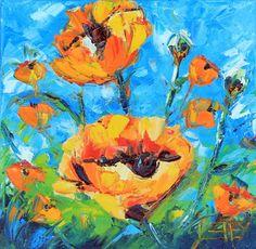 Poppy Garden - Palette Knife art, modern impressionism oil paintings on canvas by award winning San Francisco bay area artist Lisa Elley.