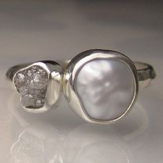 Baroque Pearl and Rough Diamond Ring Recycled by artifactum, $232.00