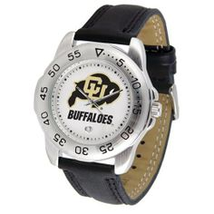 """Colorado Golden Buffaloes NCAA """"Sport"""" Mens Watch (Leather Band) by SunTime. $42.30. Calendar Date Function. Scratch Resistant Face. Rotation Bezel/Timer. This handsome, eye-catching watch comes with a genuine leather strap. A date calendar function plus a rotating bezel/timer circles the scratch-resistant crystal. Sport the bold, colorful, high quality logo with pride.. Save 10%!"""