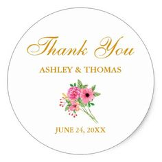 Watercolor Flowers Wedding Classic Round Sticker - spring gifts beautiful diy spring time new year