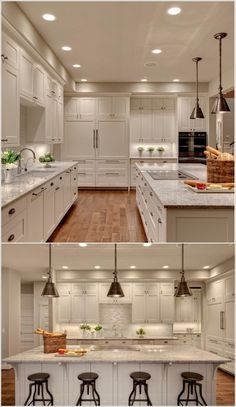 Shuffle Interiors: This kitchen is looking just whimsical by the beautiful lighting done under the cabinets and to enhance them further plants are placed below them that are looking so good.