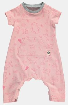 Stretch jersey soft rose w baby animals - DIY suit for children!