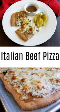 All of the flavors and textures of a delicious Italian beef sandwich in pizza form. It is full of flavor and so much fun to eat! #pizza #italianbeef #yum #chicago