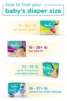Wondering what size diaper your baby needs? This diaper sizing chart may help you find the perfect fit for your baby based on their weight. Whether you're stocking up on Swaddlers for your newborn, relying on Cruisers for your active baby, or potty-training your toddler—discover the perfect-sized diaper for your little one with Pampers.