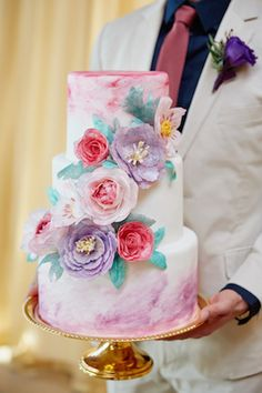 Floral Wedding Cakes - Bright, bold, and colorful watercolor wedding inspiration shoot with watercolor wedding invitations and watercolor wedding cake. Wedding Cake Prices, Cool Wedding Cakes, Beautiful Wedding Cakes, Gorgeous Cakes, Pretty Cakes, Amazing Cakes, Bolo Floral, Watercolor Wedding Cake, Cake Pricing