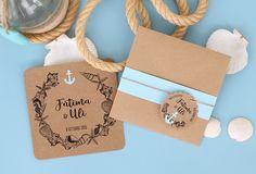 Invitación de boda original Ancla con estilo marinero y rústico con detalles en colores azul y kraft.