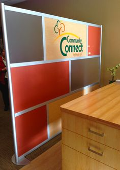 Screen with Frosted, Solid Color, Wood Laminate panels with Custom Cut Vinyl Logo Divider Walls, Office Dividers, Wood Laminate, Your Space, Storage Chest, Entrance, Logo, Design, Home Decor