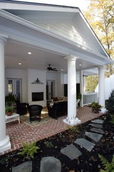 porch with a fab fireplace for those late fall gatherings