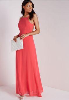 Missguided - Robe longue rose corail dos nu à bretelles fines