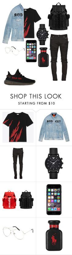"""""""Supreme"""" by lennyj200 ❤ liked on Polyvore featuring Yves Saint Laurent, Gucci, Balmain, adidas, Emporio Armani, Louis Vuitton, Off-White, Blue Crown, Ralph Lauren and men's fashion"""