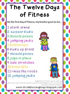 """12 days of Fitness - great brain breaks for whole class. Sing whole song or roll dice to see how many """"days"""" to sing."""