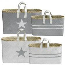 Raffia/pandan basket Set of 2 White/Grey discontinued