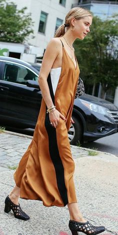 Pernille Teisbaek in a Céline dress and shoes.