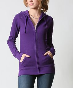42POPS Purple Thermal Zip-Up Hoodie | zulily - $16.99 $45.00 size: size chart  M L Product Description:  This chilly-weather basic features two pockets to keep hands warm and store essentials. Thermal fabric delivers all-day comfort.      54% cotton / 44% polyester / 2% spandex     Hand wash     Imported