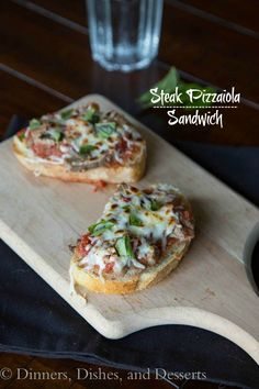 Steak Pizzaiola Open Face Sandwiches - Sliced sirloin steak in an Italian tomato sauce, served over crusty bread and topped with cheese. Turn up sandwich night!