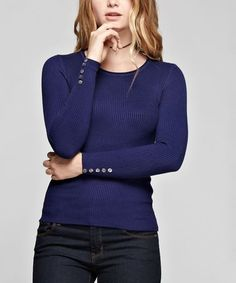 Loving this Navy Ribbed Long-Sleeve Sweater on #zulily! #zulilyfinds