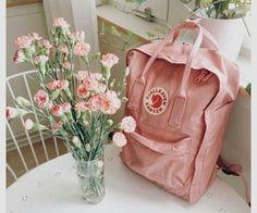 blush pink Kanken backpack by Fjallraven, blush pink carnations bouquet, Mochila Kanken, Kånken Rucksack, Kanken Backpack, Thrasher, Pink Kanken, Van Gogh, Aesthetic Backpack, Tout Rose, Tumblr Photography