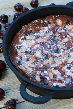 Simple Almond Cherry Clafoutis is a classic French dessert made with fresh seasonal cherries and basic baking ingredients. Ready in under an hour, this custard-y flan dessert is fancy cooking with minimal effort. #cherryclafoutis #cherries #dessert #clafoutis Donut Recipes, Pudding Recipes, Sweets Recipes, Baking Recipes, Easy Recipes, Homemade Desserts, Easy Desserts, Sour Cherry Jam, Flan Dessert