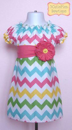 Peasant dress, Chevron dress, Easter dress, Spring dress, girls dress, toddler dress, dress-Girls sizes 3 months-6 years. $40.00, via Etsy.
