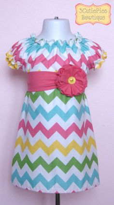 Peasant dress, Chevron dress, Easter dress, Spring dress, girls dress, toddler dress, dress-Girls sizes 3 months-6 years. $40.00, via Etsy.