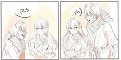 Nishiki, Kamui and food. Part 1 (Credit to the artist). Fire Emblem: If