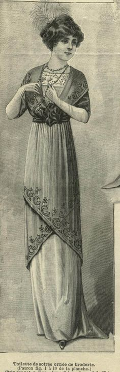 November 1911 Embroidered evening dress [where can I get one of these? I would wear one in a heartbeat]