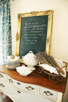 Definitely want to do this in either our living room or kitchen...ornate mirror/art turned chalk board for Bible verses, fun quotes, etc.
