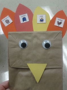 "Preschool-2nd grade; ""10 Fat Turkeys"", construction paper, scissors, glue, paper sack, printer paper, printer, 2 eyes- glue works with sounds you're working on to the feathers and glue the feathers on the turkey"