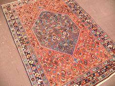 4 x 5 ANTIQUE PERSIAN BIJAR Tribal Hand Knotted Wool RUST NAVY FINE Oriental Rug #PersianBijarTribalGeometric