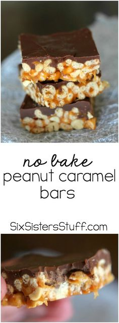 These No Bake Peanut Caramel Bars from SixSistersStuff.com are AMAZING!
