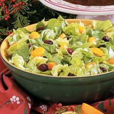 Orange-Cranberry Tossed Salad - I have made this a few times and it is always a hit. I buy craisins instead of cranberries to skip a step and I use a small amount of white vinegar since I am allergic to Cider Vinegar.
