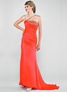 A-line One-shoulder Sequins Sweep Train Silk Like Satin Evening Dress