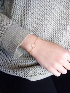 Gold Circle Bracelet geometric bracelet by SeaCastleDesigns