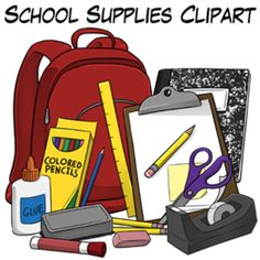 School Supplies - Commercial Use Clipart by Wendy Candler (Digital Classroom Clipart on TpT) ($)
